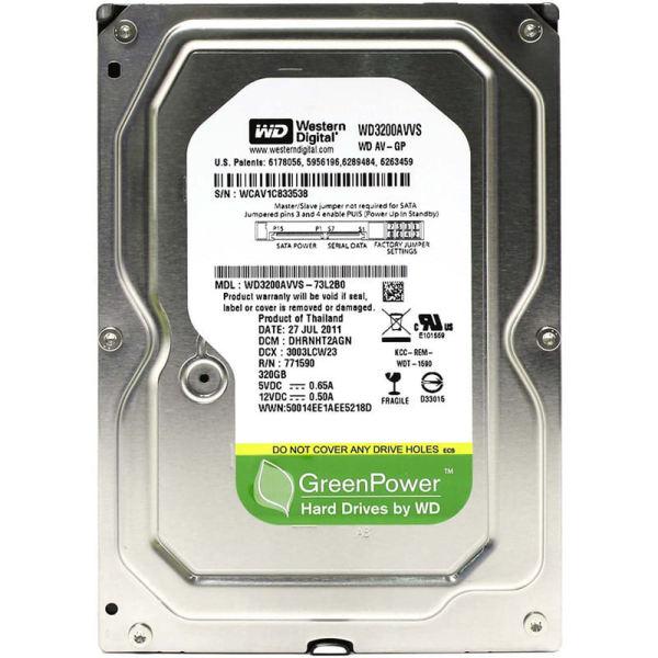 هارد دیسک اینترنال وسترن دیجیتال مدل WD AV-GP WD3200AVVS ظرفیت 320 گیگابایت